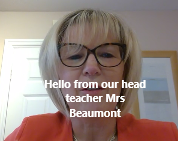Mrs Beaumont hello video still with text